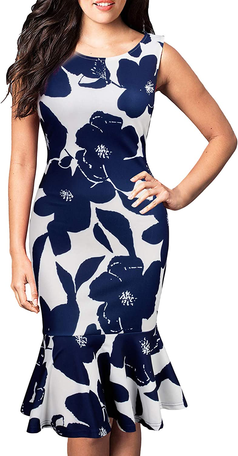 FORTRIC Women Sleeveless Fishtail Floral Summer Work Bodycon Party Causal Dress