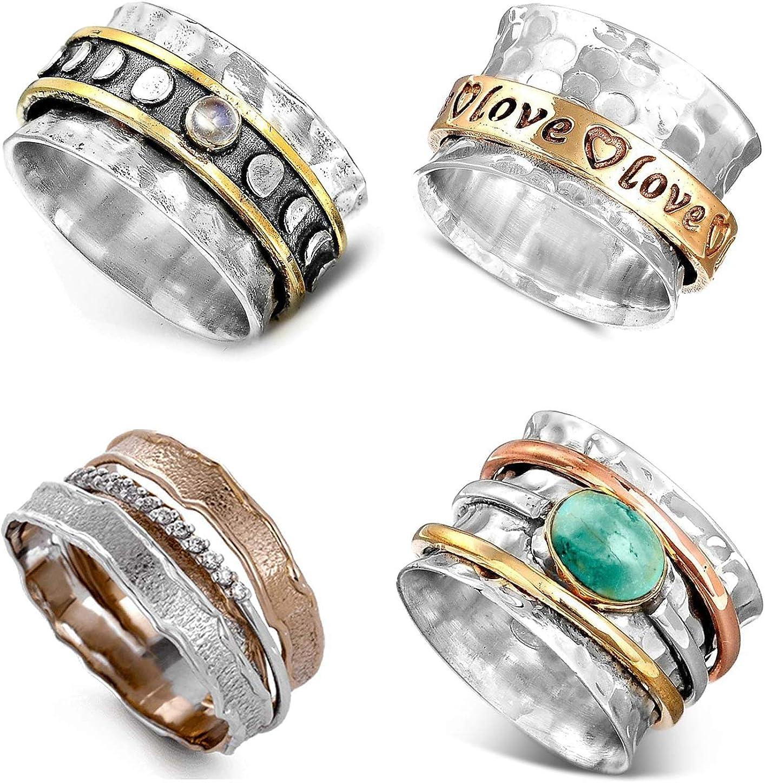 WAINIS 4 Pcs Vintage Boho Chunky Ring for Women Statement Bohemian Ring Set 6-10