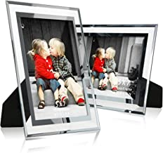 NUOLAN 5x7 Glass Picture Frame Tabletop Mirror Photo Frames 5 by 7 for Home Office Business, Set of 2