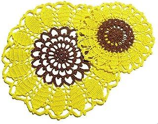 Tapete y 2 posavasos amarillo y marrón en forme de girasol de ganchillo - Tamaño: ø 23.5 cm - ø 16 cm - Handmade - ITALY