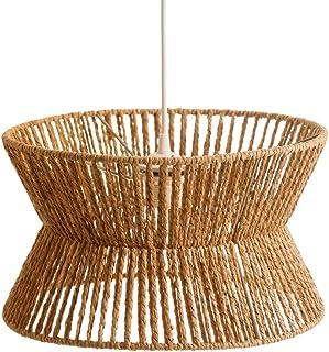 Lámpara de techo geométrica rústica de cuerda natural y metal de Ø 35x20 cm - LOLAhome