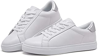 BOYATU Leather Sneakers for Women Lightweight Walking Tennis Trainers Shoes White