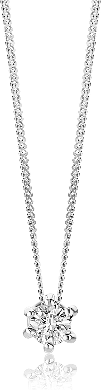 Orovi, collana da donna in oro bianco 9 kt(1,03 gr),con pendente solitario con diamante 0,12 ct OR9034N
