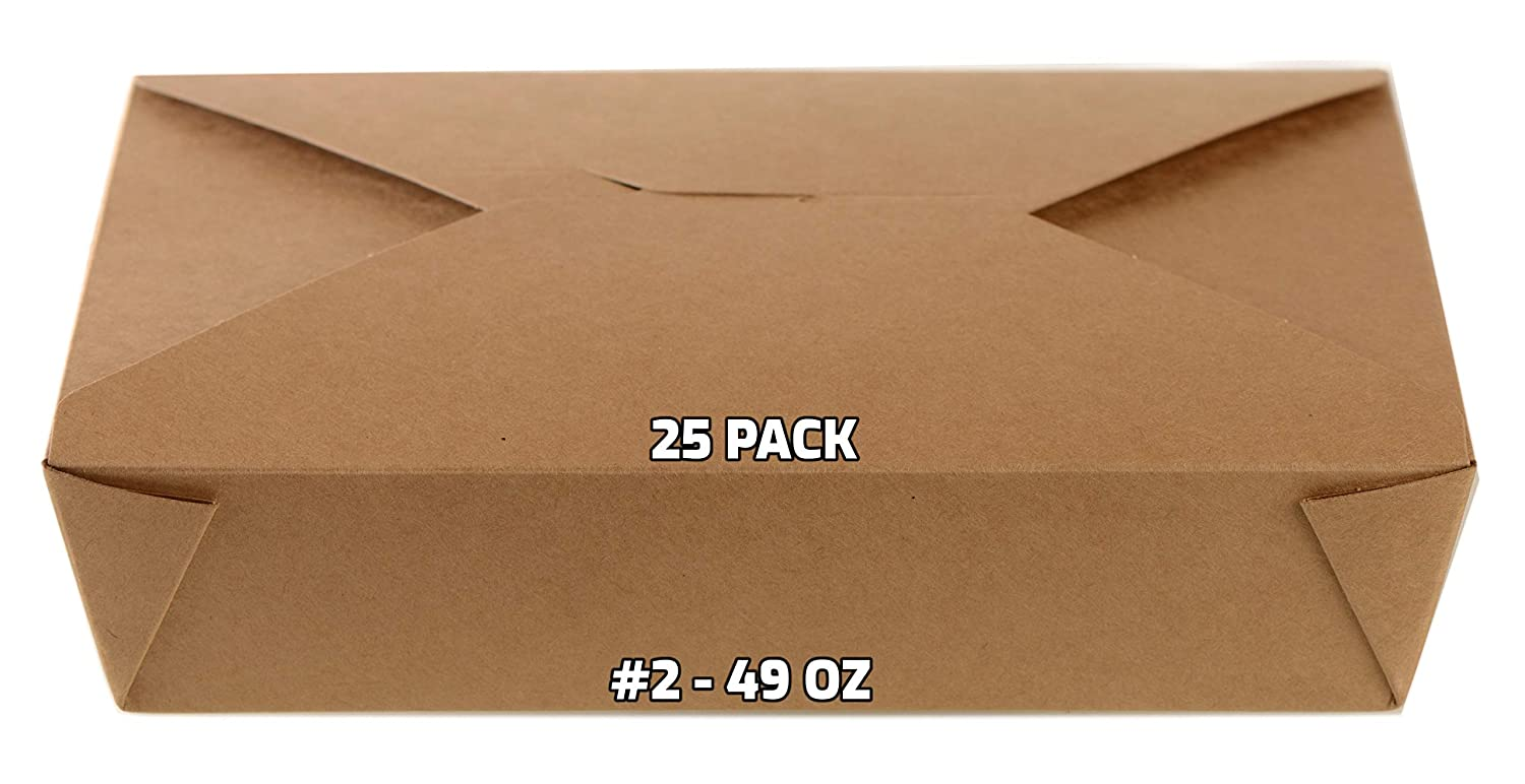25 PACK Take Out Food Max 69% OFF Containers Kraft Mesa Mall 49 oz Brown Paper