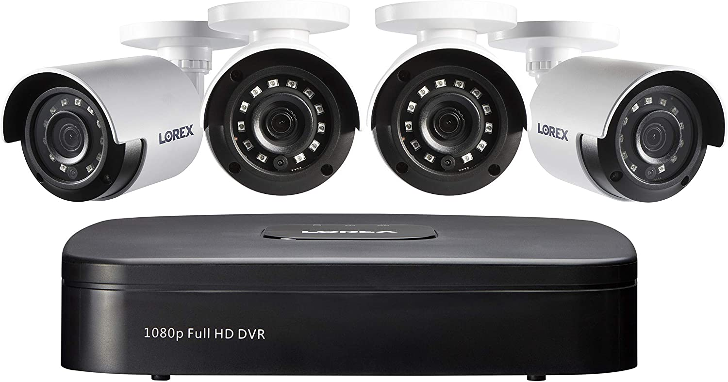 Lorex 1080p Wired Weatherproof Security System, 4 x 1080p HD Bullet Cameras w/with 4-Channel DVR | IR Night Vision | Advanced Motion Detection & Smart Search (4 Pack) (Renewed)