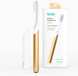 quip Adult Electric Toothbrush - Sonic Toothbrush with Travel Cover & Mirror Mount, Soft Bristles, Timer, and Metal Handle...