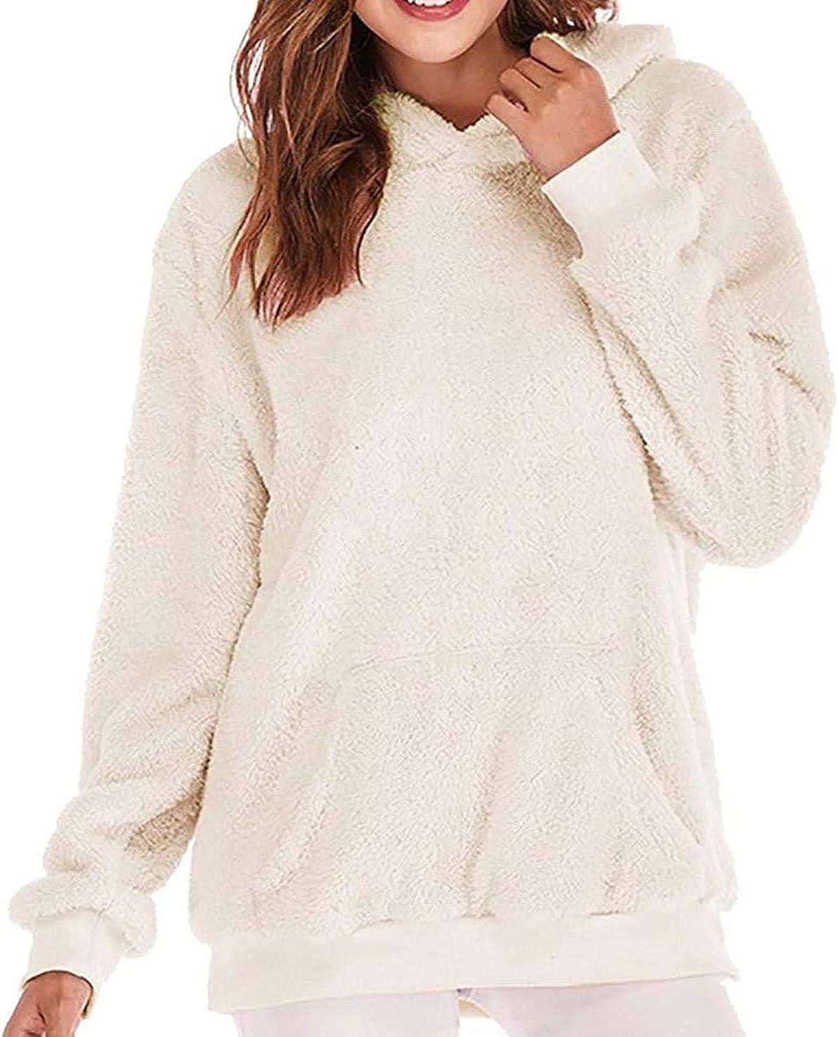 Women's Oversized Sherpa Pullover Hoodie with Pockets Zip Sweatshirt Long Sleeve Warm-up Faux Fur Fleece Hooded Coat