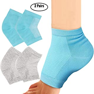 Exper 2 Pairs Moisturizing Heel Socks Gel Lined Toeless Spa Socks Day Night to Heal and Treat Dry Hard Cracked Heel,Damage...