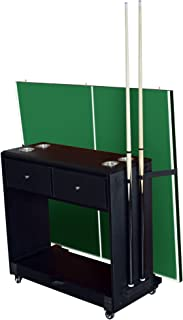 Hathaway Multi-Purpose Game Room Caddy for Billiards, Table Tennis, Air Hockey and Shuffleboard, Black