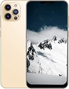 I12 Pro Max Unlocked Smartphone-Stylish 6.26Inch Bang Screen Cellphone 1+8GB Dual Card Dual Standby Android Smartphone Support for WIFI,Bluetooth,Face Recognition and Memory Expansion(Gold)(US plug)