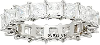 Platinum or Gold Plated Sterling Silver Princess Cut All-Around Band Ring made with Swarovski Zirconia