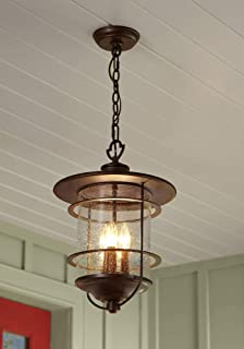 """Casa Mirada Country Cottage Outdoor Ceiling Light Hanging Lantern Bronze 19"""" Clear Seedy Glass for Exterior Porch Patio - ..."""