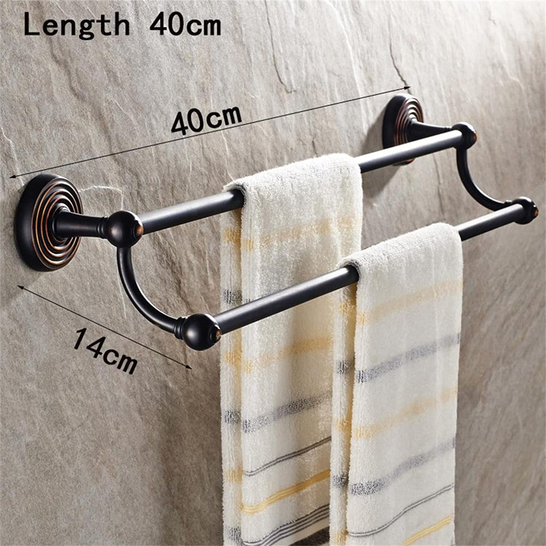 TOYM AU European Antique Bathroom Hardware Pendant Bathroom Toilet Racks Full of Copper Double Towel Bar (Size   40cm)