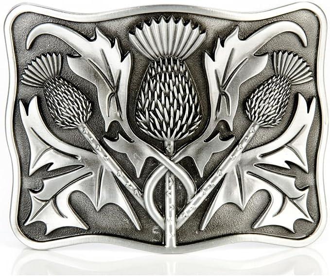 J Ceinture de kilt de qualité Wood homme cuir embossé d/'un motif chardon