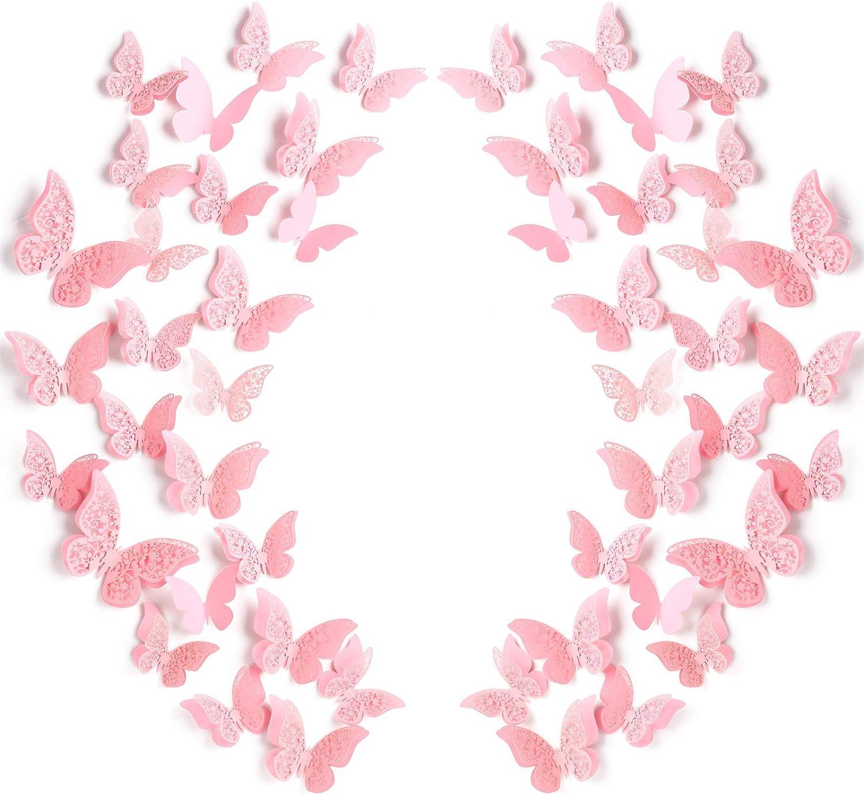 120 Piezas 60 Pares de Pegatinas de Mariposa Desmontables Adornos de Pared en Mariposa 3D de Hueco para Habitación de Bebé Decoración de Boda, Rosa