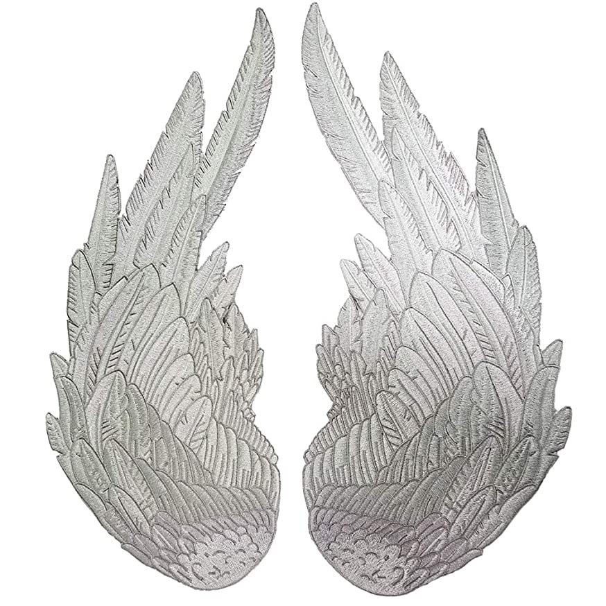 One Pairs of Big Size Silver Angels Wings Full of Jacket Vest Embroidered Motorcycle Biker Vest Rock Punk Patch Custom (36cm)