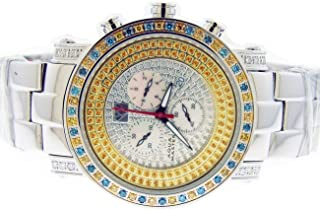 2.60ct Canary Yellow and Blue Diamonds One Row Watch