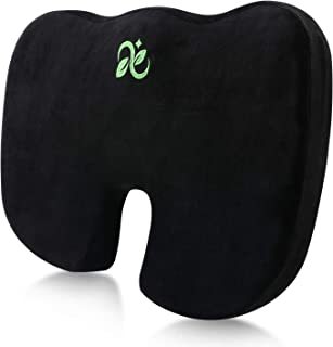 Coccyx Seat Cushion Comfort Memory Foam Seat Cushion Orthopedic Chair Pillow Back Pain Relief Sciatica Tailbone Pain Back Support Seat Cushion for Office Car Sitting Pregnancy Travel Driving. (Black)
