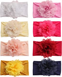 inSowni 8 Pack Solid Chiffon Flower Stretchy Nylon Turban Headbands Headwraps Hair Bands Accessories for Baby Girls Toddle...