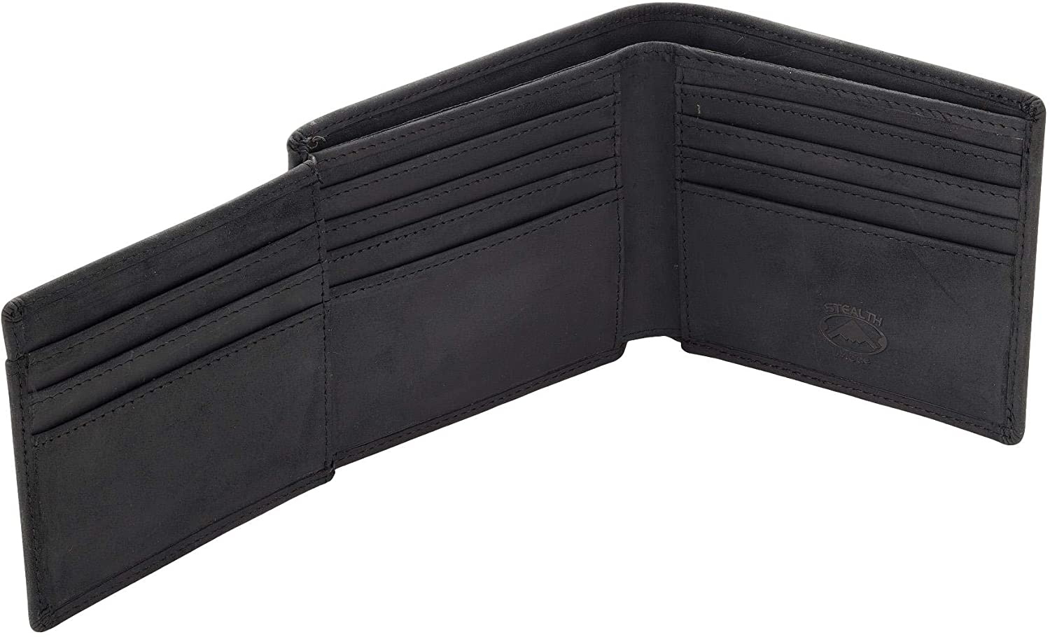 Stealth Mode Mens Trifold Leather Wallet - Mens RFID Leather Wallet with ID Window (Black)