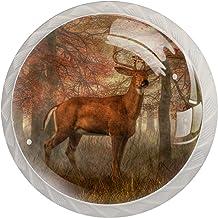 Lade handgrepen kabinetknoppen knoppen rond Pack van 4 voor kast, lade, borst, dressoir etc, herten in het bos