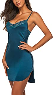 ADOME Women's Satin Nightgown Sexy Lingerie Lace Chemises Slip Sleepwear