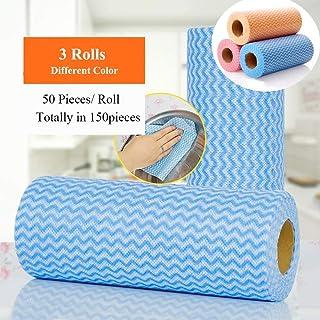 ZAFUAZ Disposable Dish Cloth Reusable Dish Towels Kitchen Paper Towels Multipurpose Cleaning Towels 3 Rolls (Dish Cloth-Radom Color)