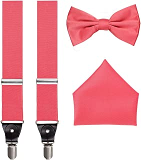 3pc Suspender Bow-Tie Handkerchief Set