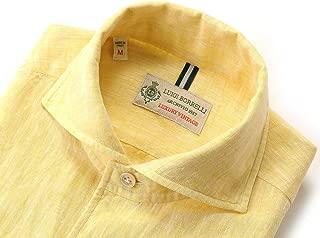 ルイジボレッリ ルイジボレリ LUIGI BORRELLI / 20SS!製品洗いリネンポプリン無地イタリアンカラーシャツ「VESUVIO(9130)」 (イエロー) メンズ