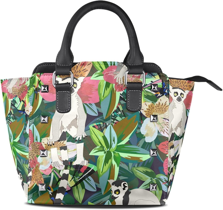 My Little Nest Women's Top Handle Satchel Handbag Watercolor Lemur Tropical Forest Ladies PU Leather Shoulder Bag Crossbody Bag