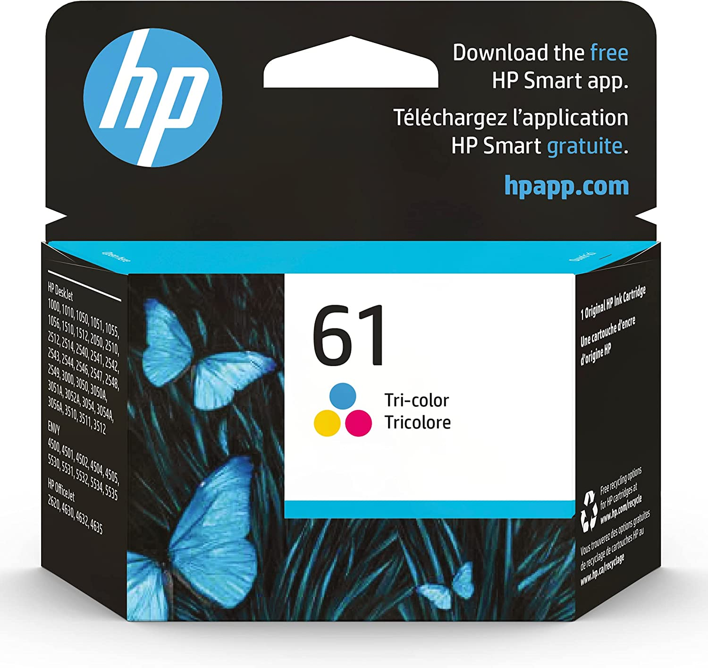 Original HP 61 Tri-color Ink   Works with DeskJet 1000, 1010, 1050, 1510, 2050, 2510, 2540, 3000, 3050, 3510; ENVY 4500, 5530; OfficeJet 2620, 4630 Series   Eligible for Instant Ink   CH562WN
