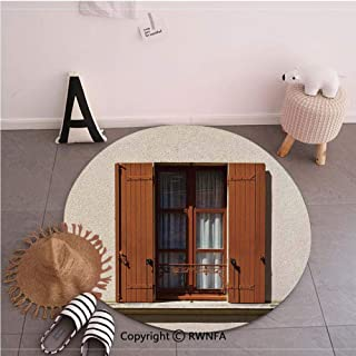 Non-Slip Round Carpet for Living Room,Modern Mediterranean French Window Shutters Image Original Urban Old Town Style Decor Brown Ecru,35.4inches,Custom Soft Carpet Floor Mat Home Decor