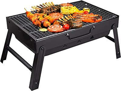 Yazhmsa 17x11.4x8.7 Inch Portable Charcoal Grill, Charcoal BBQ Grill for Camping Picnic,Stainless Steel Folding Charcoal Barbecue Grill,Indoor and Outdoor Charcoal Grill with Smoker Charcoal Grill