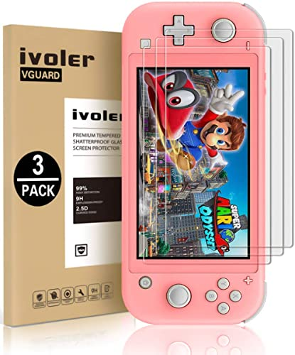[3 Pack] Screen Protector Tempered Glass for Nintendo Switch Lite, iVoler Transparent HD,High Definition,Clear Anti-S...