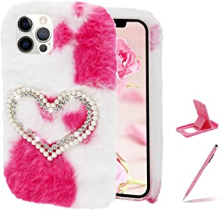 Herzzer Chic Winter Warm Plush Furry Cover for iPhone XS Max,Cute Color Block Rabbit Fluffy Hairy Diamond Pearl Love Heart...