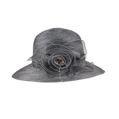 Prefe 1920s Womens Summer Organza Kentucky Derby Dress Bowler Sun Hat Derby  Tea Party d371ba96e090
