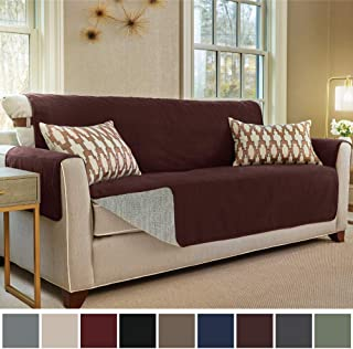 Gorilla Grip Original Slip Resistant Oversize Sofa Slipcover Protector, Seat Width Up to 78 Inch Suede-Like, Patent Pending, 2 Inch Straps, Hook, Couch Cover for Kids, Pets, Oversized Sofa, Coffee