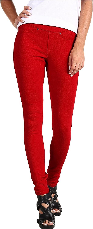 HUE Women's Solid Color Original Jeanz Leggings, Deep Red, X-Small (0-2)