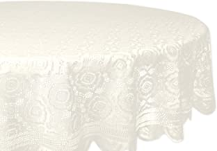 """DII Home Essentials 100% Polyester, Machine Washable, Shabby Chic, Vintage Tablecloth or Overlay 63"""" Round, Vintage Lace C..."""