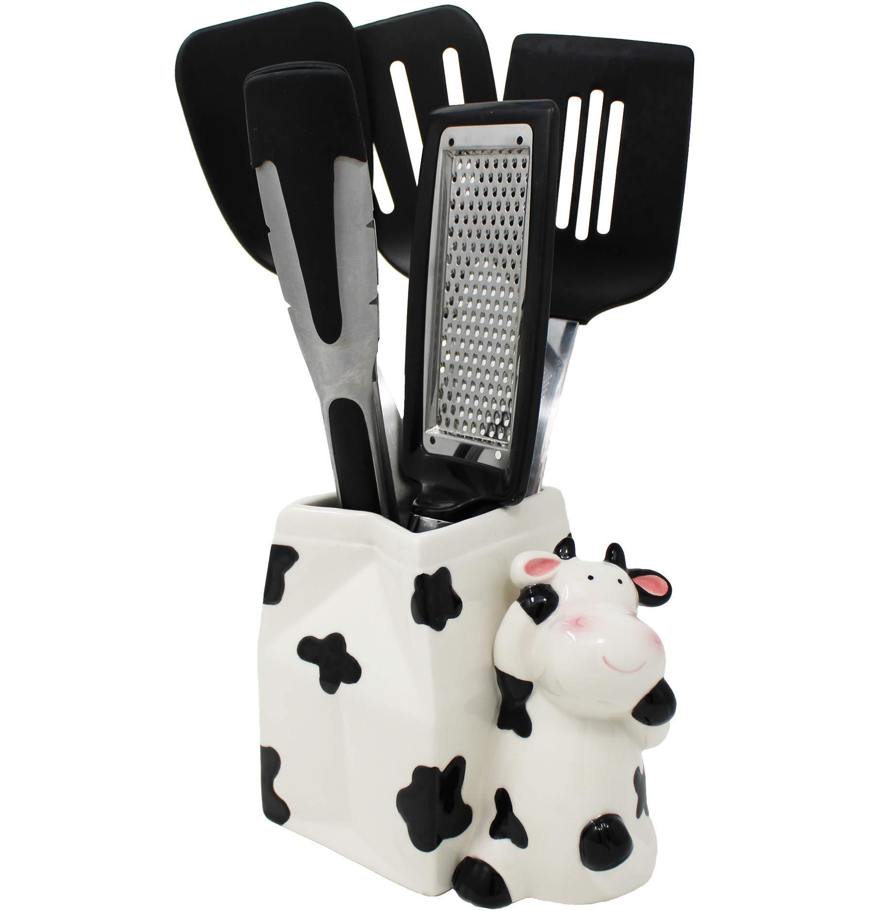 Sixdrop Cow Utensil Holder Cow Kitchen Utensil Holder Multipurpose Cow Farmhouse Decor Kitchen Crock Storage Farm Decorations Decor Gift Cow Kitchen Decor Ceramic Holder Buy Online At Best Price In Uae