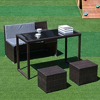 ETK 高級ラタン調 ガーデンファニチャー 4点 組立不要 100%完成品 ガーデンテーブル ガーデンチェアー 家具 樹脂 ガーデンソファー