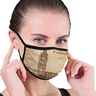 Face Mask Big Ben London Black Border Masks Dustproof Balaclava Washable Mouth Cover For Sport Outdoor Activities