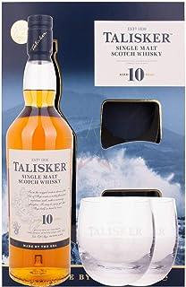 Talisker Single Malt Whisky 10 Jahre, Geschenkpackung mit 2 Gläsern 1 x 0.7 l