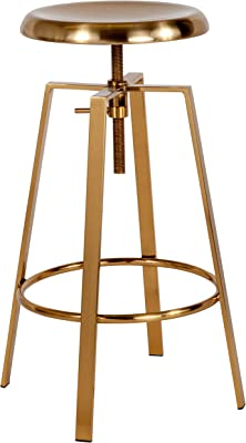 Flash Furniture Toledo Industrial Style Barstool with Swivel Lift Adjustable Height Seat in Gold Finish