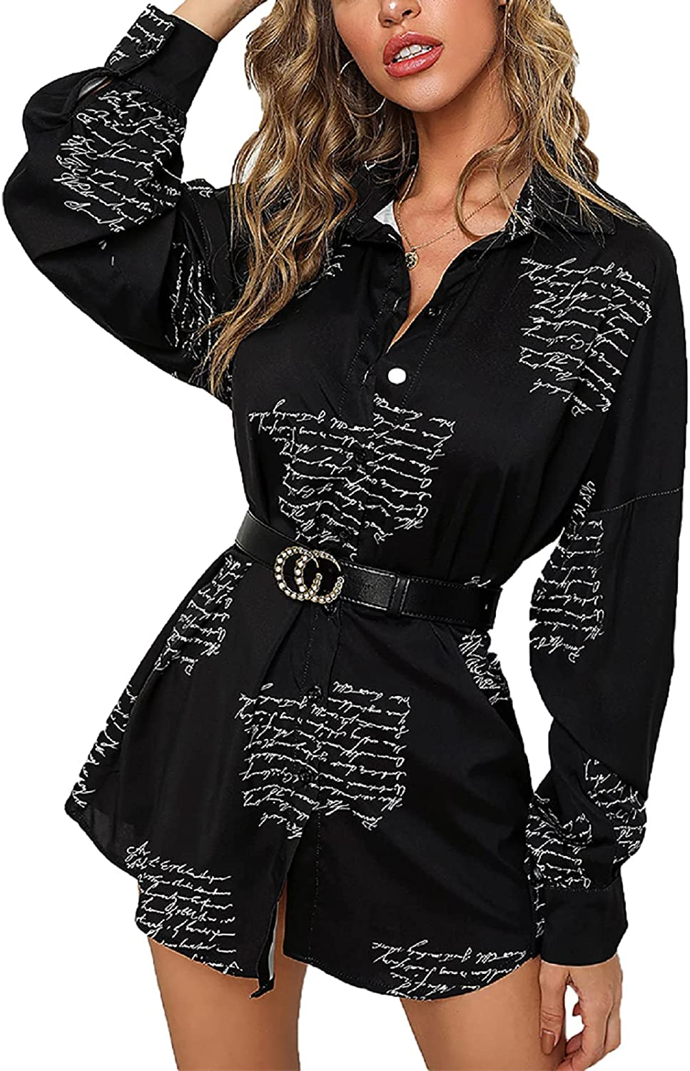 Women's T-Shirt Dresses Button Down Colorful Blouses Long Sleeve Floral Print Tops Loose Collar Sexy Dress