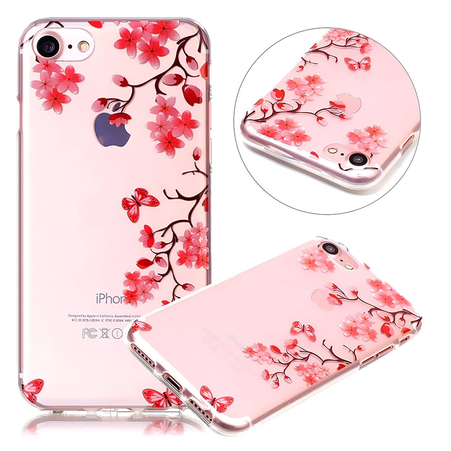 PHEZEN iPhone 5C Case, iPhone 5C Clear TPU Case, Pink Flower Floral Design Ultra Thin Anti-Scratch Flexible TPU Gel Rubber Soft Skin Silicone Protective Case Cover for iPhone 5C