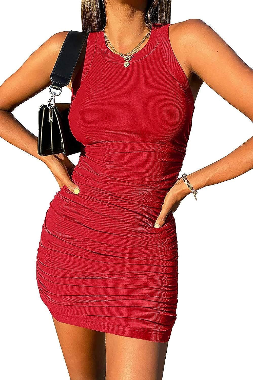 Inorin Women's Scoop Neck Sleeveless 5 ☆ New Orleans Mall very popular Dress Ruched Summer Tank Ri