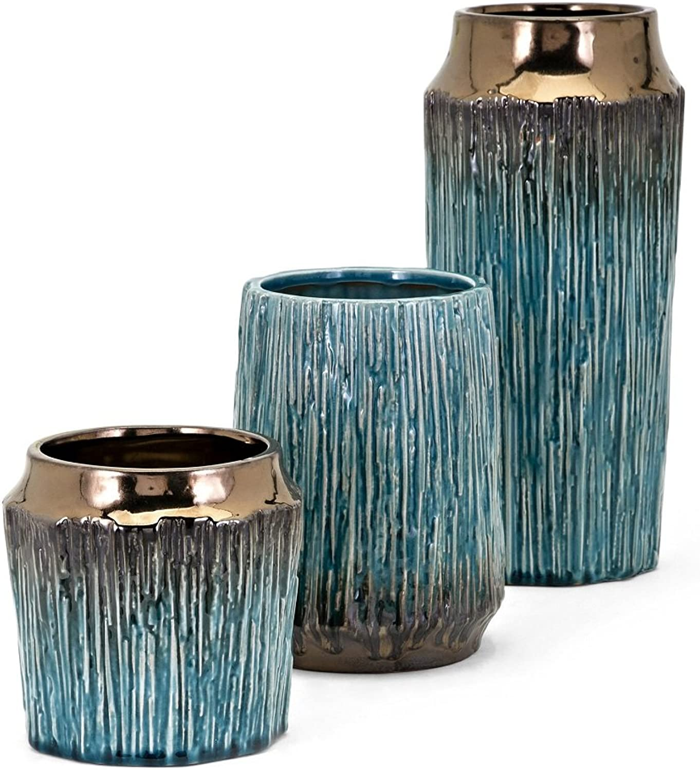 Imax 13733-3 Brenton Vases, Set of 3, Bold Textured Bronze and Turquoise Containers