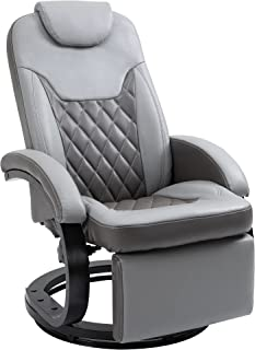 HOMCOM PU Recliner Reading Armchair with Footrest, Headrest and Round Steel/Wood Base for Living Room or Office, Grey