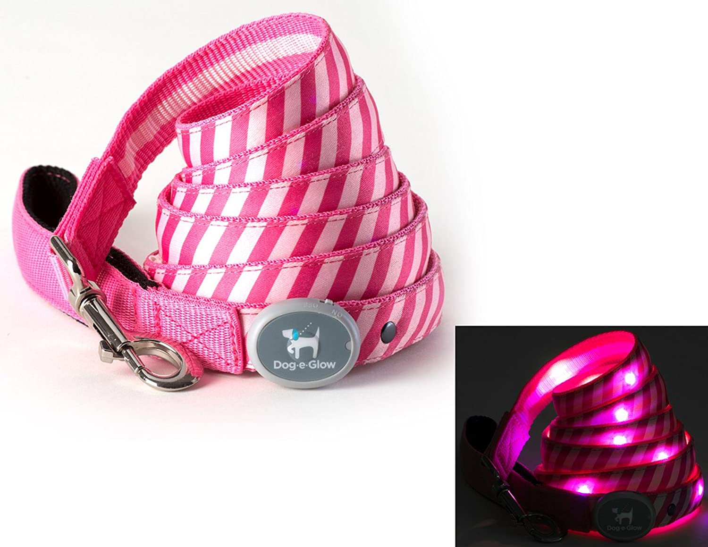 DogeGlow Pink Stripes LED Light Up Dog Leash (6 Feet)